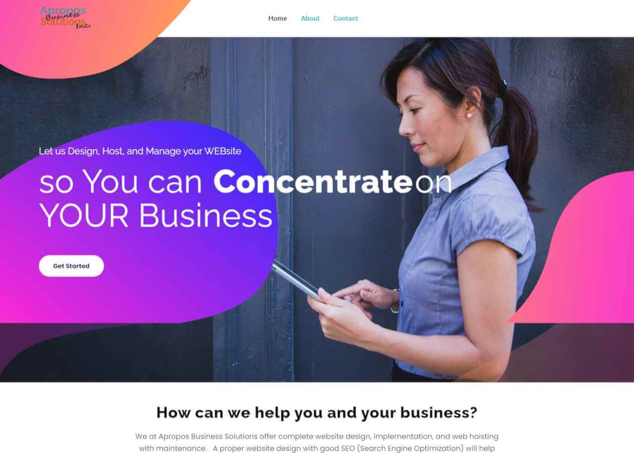 apropos web services home page woman with tablet